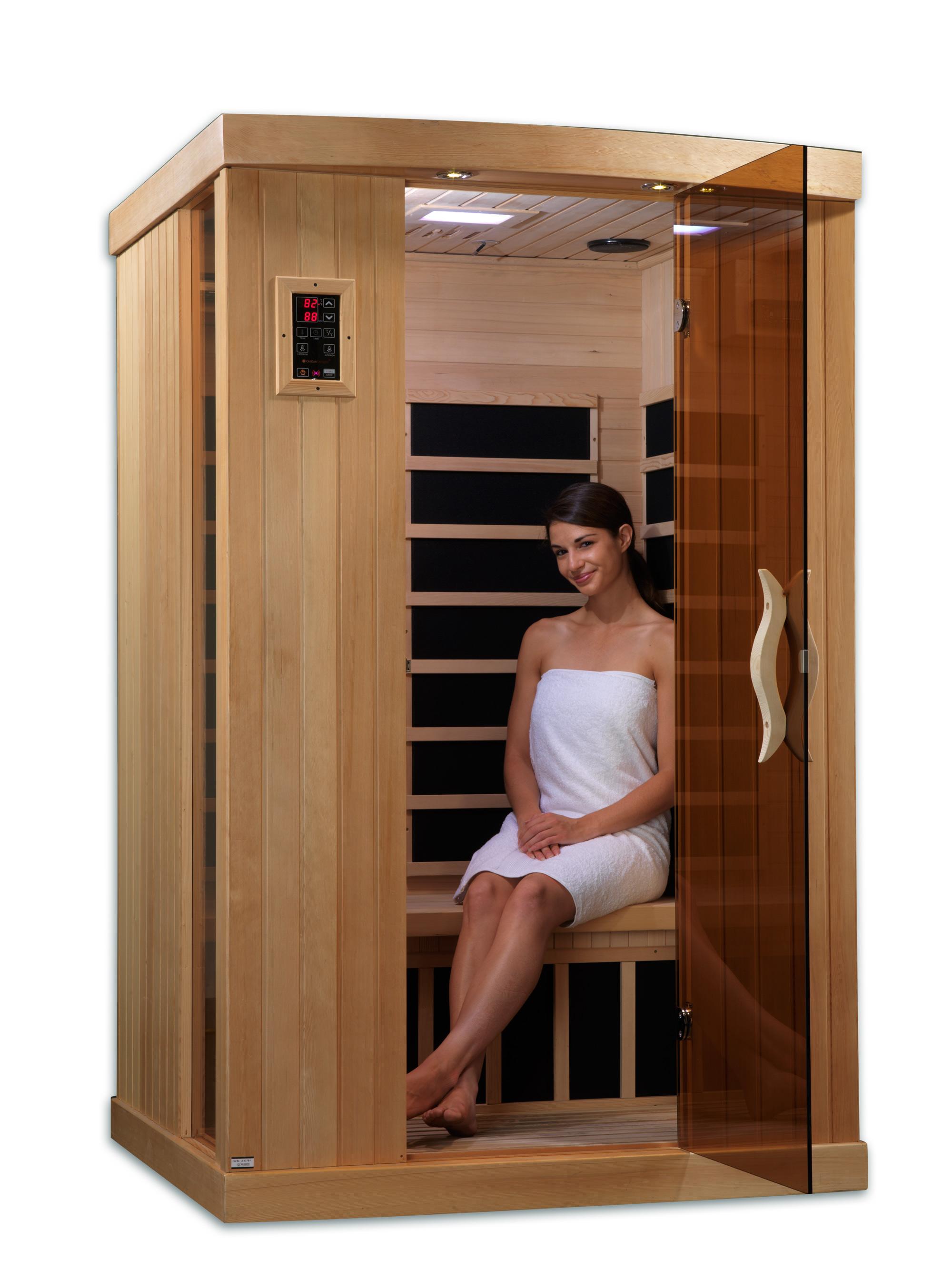aurora 2 person infrared sauna 2 backrests ionizer. Black Bedroom Furniture Sets. Home Design Ideas